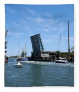 Wrightsville Beach Bridge In North Carolina Fleece Blanket