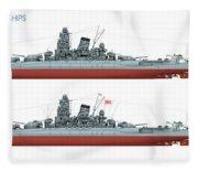 Yamato Class Battleships Port Side Fleece Blanket