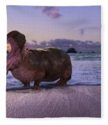 Yawning Coastal Hippo Hello Fleece Blanket