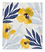 Yellow And Navy 1- Floral Art By Linda Woods Fleece Blanket