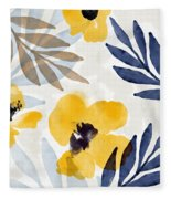 Yellow And Navy 3- Floral Art By Linda Woods Fleece Blanket