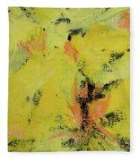 Yellow Blooms Coral Accents Fleece Blanket