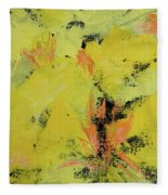 Yellow Blooms Coral Accents Fleece Blanket