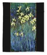Yellow Irises - Digital Remastered Edition Fleece Blanket