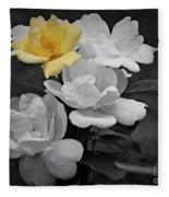 Yellow Rose Cluster Partial Color Fleece Blanket