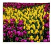 Yellow Star Tulips Fleece Blanket