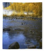 Yosemite River In Yellow Fleece Blanket