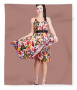 Young Beautiful Dancer Posing On Tan Background Fleece Blanket