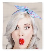 Young Beautiful Woman Holding A Bottle Cap In A Mouth Fleece Blanket