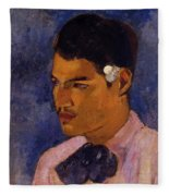 Young Man With A Flower Behind His Ear 1891 Fleece Blanket