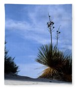 Yucca Plant In Rippled Sand Dunes In White Sands National Monument - Newm500 00107 Fleece Blanket