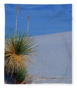 Yucca Plant In Sand Dunes In White Sands National Monument, New Mexico - Newm500 00112 Fleece Blanket