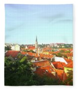 Zagreb Roofs Ne Fleece Blanket