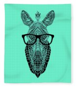 Zebra In Glasses Fleece Blanket