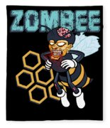 Zombee Zombie Bee Halloween For Beekeeper Apiarist Dark Light Fleece Blanket