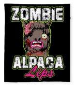 Zombie Alpaca Lips Halloween Pun Llama Alpacalypse Dark Fleece Blanket