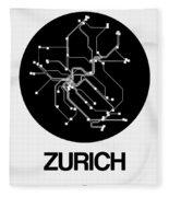 Zurich Black Subway Map Fleece Blanket