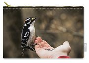 Downy Woodpecker In Hand Carry-all Pouch