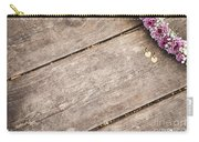 Flower Frame On On Wood Background Carry-all Pouch