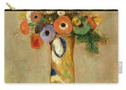 Flowers In A Painted Vase Carry-all Pouch by Odilon Redon