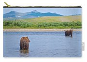 Grizzly Bears Looking At Each Other In Moraine River In Katmai Np-ak  Carry-all Pouch