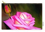 Painted Pink Rose Carry-all Pouch