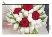Red Rose And White Tulip Wedding Bouquet Carry-all Pouch