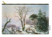 Wooded Winter River Landscape Carry-all Pouch by  Andreas Schelfhout