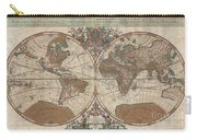 1691 Sanson Map Of The World On Hemisphere Projection Carry-all Pouch by Paul Fearn