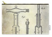 1876 Corkscrew Patent Drawing Carry-all Pouch
