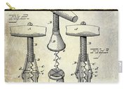1883 Corkscrew Patent Drawing Carry-all Pouch