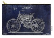 1901 Motorcycle Patent Drawing Blue Carry-all Pouch