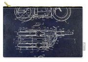 1950 Motorcycle Patent Drawing Blue Carry-all Pouch
