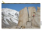 A Man Sport Climbs In Bishop Carry-all Pouch