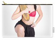 A Pin Up Girl Holding A Little Wooden Skateboard Carry-all Pouch