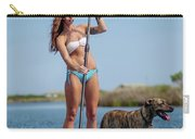 A Young Woman And Her Dog Sup Carry-all Pouch