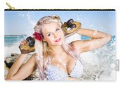 Active Sexy Summer Beach Babe With Skateboard Carry-all Pouch