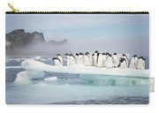 Adelie Penguins On Melting Ice Floe Carry-all Pouch