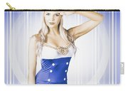 American Pinup Poster Girl In Military Uniform Carry-all Pouch