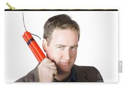 Angry Business Man Holding Stick Of Dynamite Carry-all Pouch