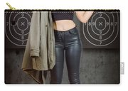 Army Pinup Girl At Rifle Range. Bullet Proof Carry-all Pouch
