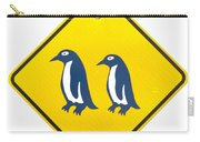 Attention Blue Penguin Crossing Road Sign Carry-all Pouch