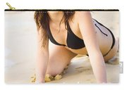 Beach Fun With A Gorgeous Brunette Carry-all Pouch