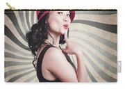 Beautiful Model In Vintage Fashion Accessories  Carry-all Pouch
