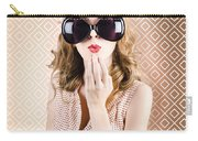 Beautiful Surprised Girl Wearing Big Sunglasses Carry-all Pouch