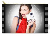 Beautiful Woman Holding Home Video Camera Carry-all Pouch