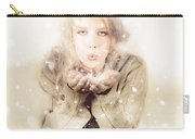 Beautiful Young Woman Blowing Snow In Winter Style Carry-all Pouch