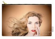 Beauty Portrait. Beautiful Woman And Long Red Hair Carry-all Pouch