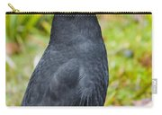 Black Tasmanian Crow Standing In Green Forest Carry-all Pouch