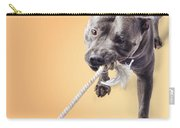 Blue Staffie Having A Tug Of War Carry-all Pouch
